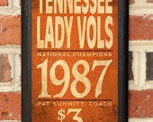 University of Tennessee Volunteers Lady Vols Basketball Classic Vintage Style Plaque Sign Wall Home Decor Art Gift - Officially Licensed
