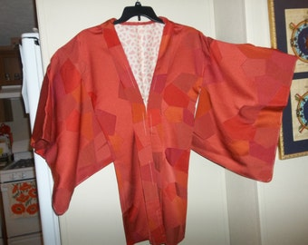 Vintage Japanese Silk Wedding Kimono..Pink Brown Geometric Pattern..New Old Stock..1970Era..Perfect Condition