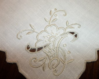 "Fab 8 Pristine MADEIRA LINEN  Napkins...Richelou Cutwork..Hand Embroidery...16"" Square...Embroidered Edges"