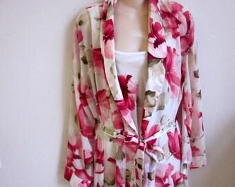 Peignoir nightgown & kimono robe set  silky sexy lingerie M L