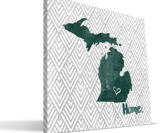 Michigan State Spartans 12x12 Home Canvas Print