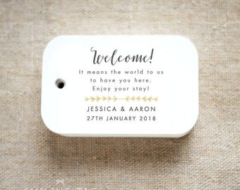 Romantic Destination Wedding Welcome It means the world to us Personalized Gift Tags Favor Tags Thank you tags - Set of 24 (Item code: J629)