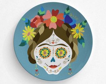Frida Kahlo Sugar Skull Melamine Plate, Sugar Skull Melamine Plate, Frida Kahlo, decorative plate, Dinner Plate, Serving Plate