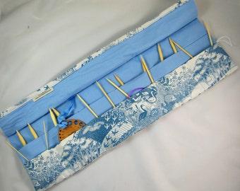 Circular Knitting Needle Case. Woodland fabric.
