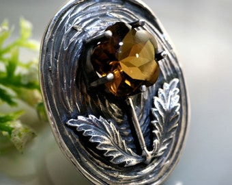 Smoky Quartz Stone Ring Sterling Silver Jewelry