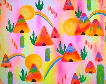 Original painting neon hut 9,5 x 12