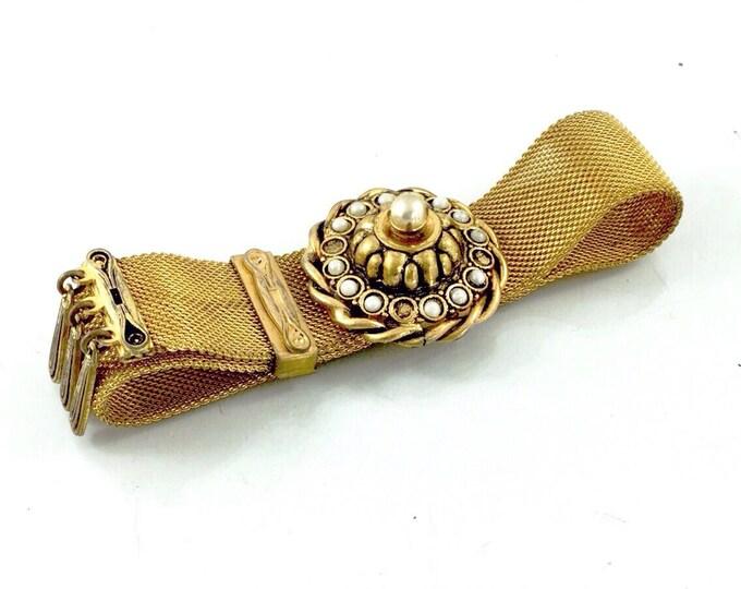 Late Victorian Slide Bracelet with Pearls,Antique Mesh Bracelet, Gold Pot Metal Bracelet, Victorian Bracelet. Antique Estruscan Style.
