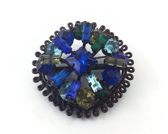 Sparkly Dark Regency Brooch, Vintage Blue Rhinestone Brooch. Deep bright blue, green glass cabochons, jappaned brooch. Black brooch.