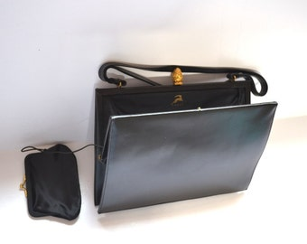 "60s/50s Black ""Koret"" Purse elegant classic elegant calfskin retro bag, attached coin purse leaping gazelle purse Great condition"