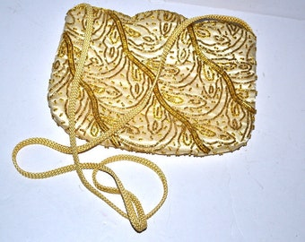 70's vintage gold yellow beaded clutch evening shoulder purse Fine Arts cosmetic cell phone bag small evening purse hand made wedding party