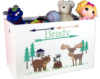 Personalized North Woods Toy Box Custom Toybox Woodland Animals bear deer forest animals for Rustic Cabin Nursery childrensToys YBIN-218c