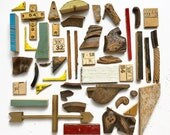 nice lot of small wood bits and pieces ruler pieces found objects
