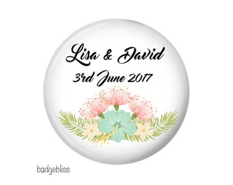 Wedding favour, 20 personalised floral wedding favours