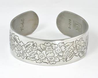 Vintage Kirk Pewter Cuff Bracelet - Violet - February Birthday Gift - 1970s Signed Jewelry - Kirk Flower of the Month Bangle Bracelet