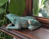 Vintage Garden Frog / Small Metal Frog Statue / Pond Decor