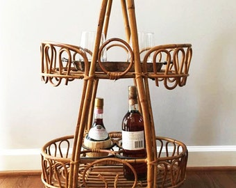 Vintage Bamboo and Rattan Bar Cart ~ Small Rolling Cart // Local Pickup or 50 Mile Delivery Only- Fredericksburg, Va