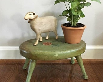 Vintage Green Stool / Wooden Milking Stool / Rustic Stool.....Photo Prop