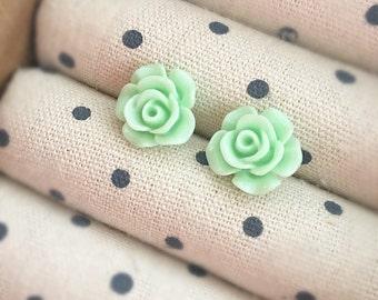 Mint Stud Earrings, Resin Flower Earrings, Flower Stud Earrings, Mint Earrings