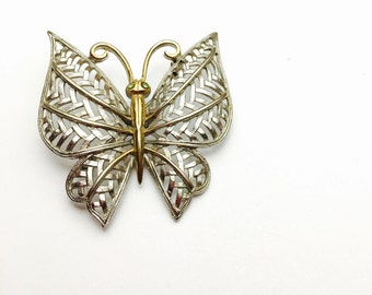 Vintage Avon Brooch, Filigree Butterfly, Solid Gold & Silver Tone, Two Tone Brooch, Item No. B125