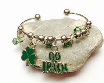 Irish Bangle Bracelet, Go Irish, VIntage Charm, Green Beads, pre-holiday SALE, Item No. B632