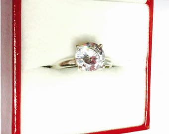 Cocktail Ring Size 5,5 Vintage Solitaire, Clear Cz, Round Stone, Clearance SALE, Item No. S397
