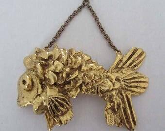 Vintage Kenneth Lane Goldfish Pendant Necklace Gilded Metal Oversized Fish Modernist