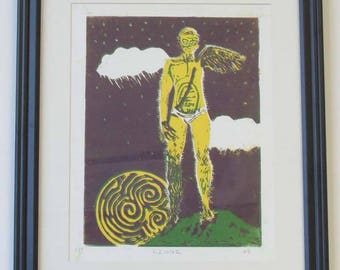 Vintage Signed Painting Vizionz 3/7 HB Guy with Wing Triskele