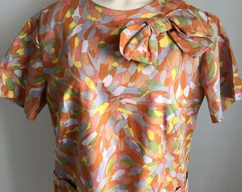 Vintage 1960s Orange Grey Yellow Mauve Short Sleeve Bow Dress 14 16