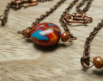 NEBULOUS colorful polymer clay bead antiqued copper chain necklace choose your bead jewelry