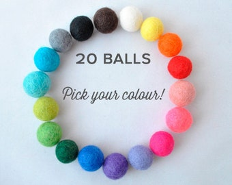 Wool felt balls - 20 pieces - 2cm - Choose your colour!