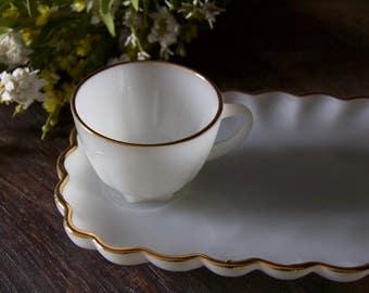 Set of 4 Vintage Anchor Hocking Milk Glass Gold Trim Snack & Cup Serving Set