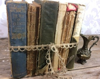 Tattered Book Bundle, 6 book lot of naturally aged, worn books, no altering, photo prop, library