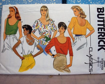 Sewing pattern for blouses, Butterick 3245,  styles from the 1980s pattern is uncut