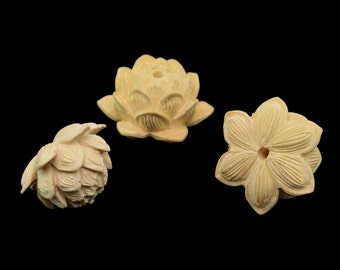 23x13MM Natural Yellow Boxwood Grade AA Handcrafted Floral Lotus Carved Mala Beads Loose Beads 2 Beads (50836-252)