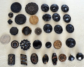 Vintage Decorative Black and Gold Glass Buttons, Collection of 32