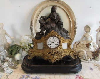 Antique French ormolu mantle clock.  Gorgeous French decor.  Paris apartment, cottage chic