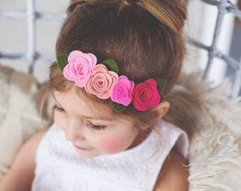 Pink Felt Flower Crown
