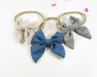 Baby Girl Headbands in Chambray, Nude, and Gray