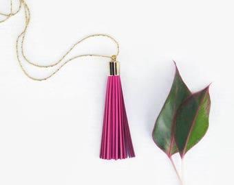 Long Necklace Boho  - Long Necklace Hot Pink Leather