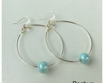 Seashell Jewelry ... Simple Blue Glass Bead Hoop Earrings (1479)