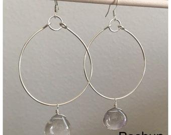 Seashell Jewelry ... Simple Teardrop Stone Hoop Earrings (1528)