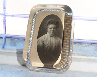 Antique Photo Paperweight Edwardian Woman