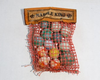 Vintage 1940s Akro Agate Marbles In Bag Marble King
