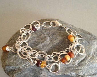 Sterling Silver Link Bracelet with Raw Amber - Multi Strand Silver Bracelet - Amber Bracelet