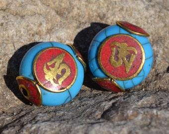 Brass & resin pendant bead DB057