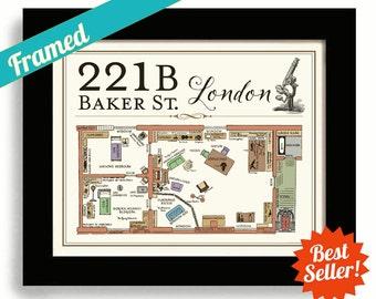 Sherlock, 221B Baker Street, Sherlock Holmes, Framed Art, Geekery Map, BBC, London England