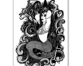 Mermaid Pinup -A4 Print