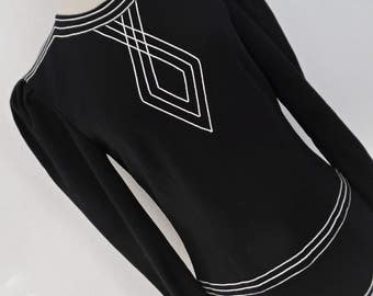SALE:)) LOUIS FERAUD . Art Deco Mod . Fabulous Black White Piping Elements Dress 70s 80s Xs