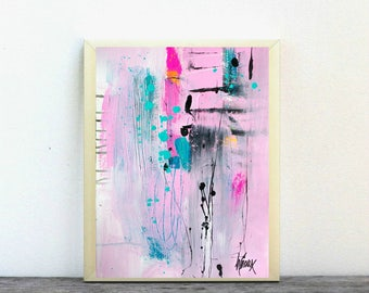 Original Art on paper, Pink Acrylic art painting, contemporary artworks by Heroux 11x14 inch