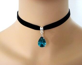 Black Velvet Choker Necklace, blue zircon 10mm BLACK Velvet Ribbon Choker, Bridesmaid gift, zircon blue bridesmaid necklace, blue crystal